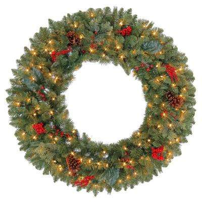 36 in. Pre-Lit Artificial Winslow Fir Christmas Wreath with 311 Tips and 150 Clear Lights