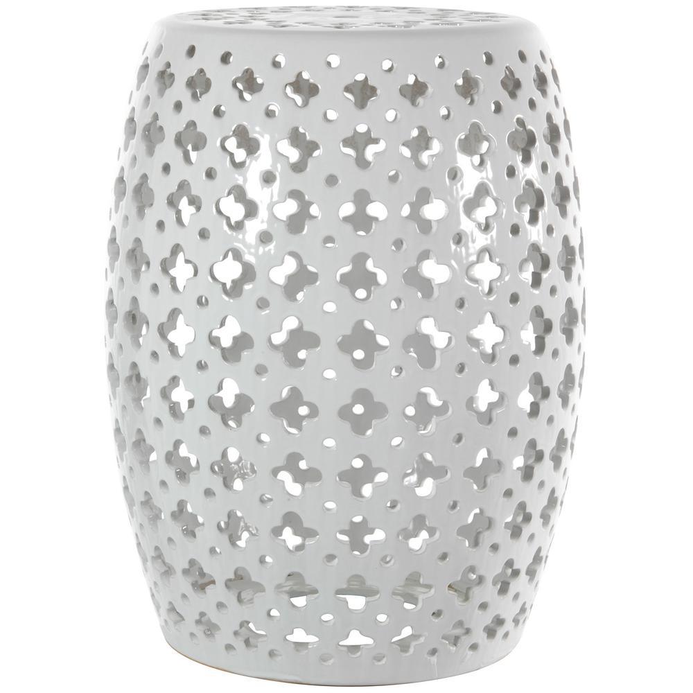 Oriental Furniture White Porcelain Ottoman