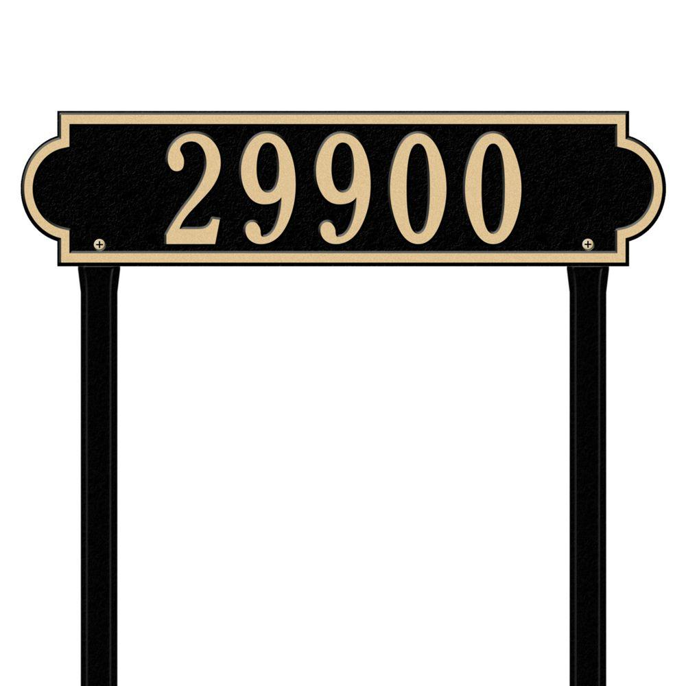 Richmond Rectangular Black/Gold Estate Lawn One Line Horizontal Address Plaque