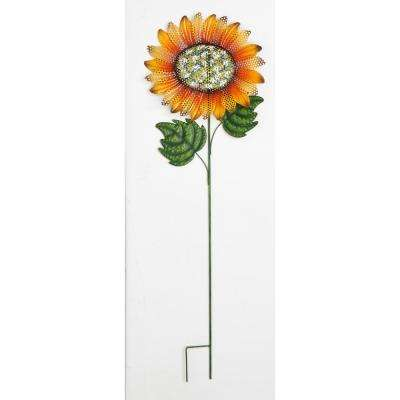 48 in. Metal Glitter Sunflower on Yellow Wobbly Stake