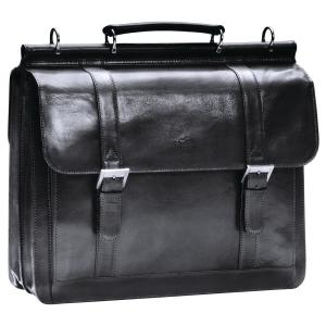 Luxurious Italian Black Leather Briefcase for 16.5 inch Laptop by