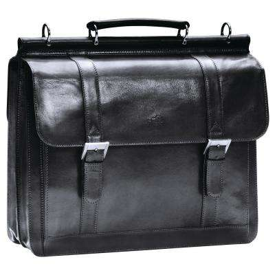 Luxurious Italian Black Leather Briefcase for 16.5 in. Laptop