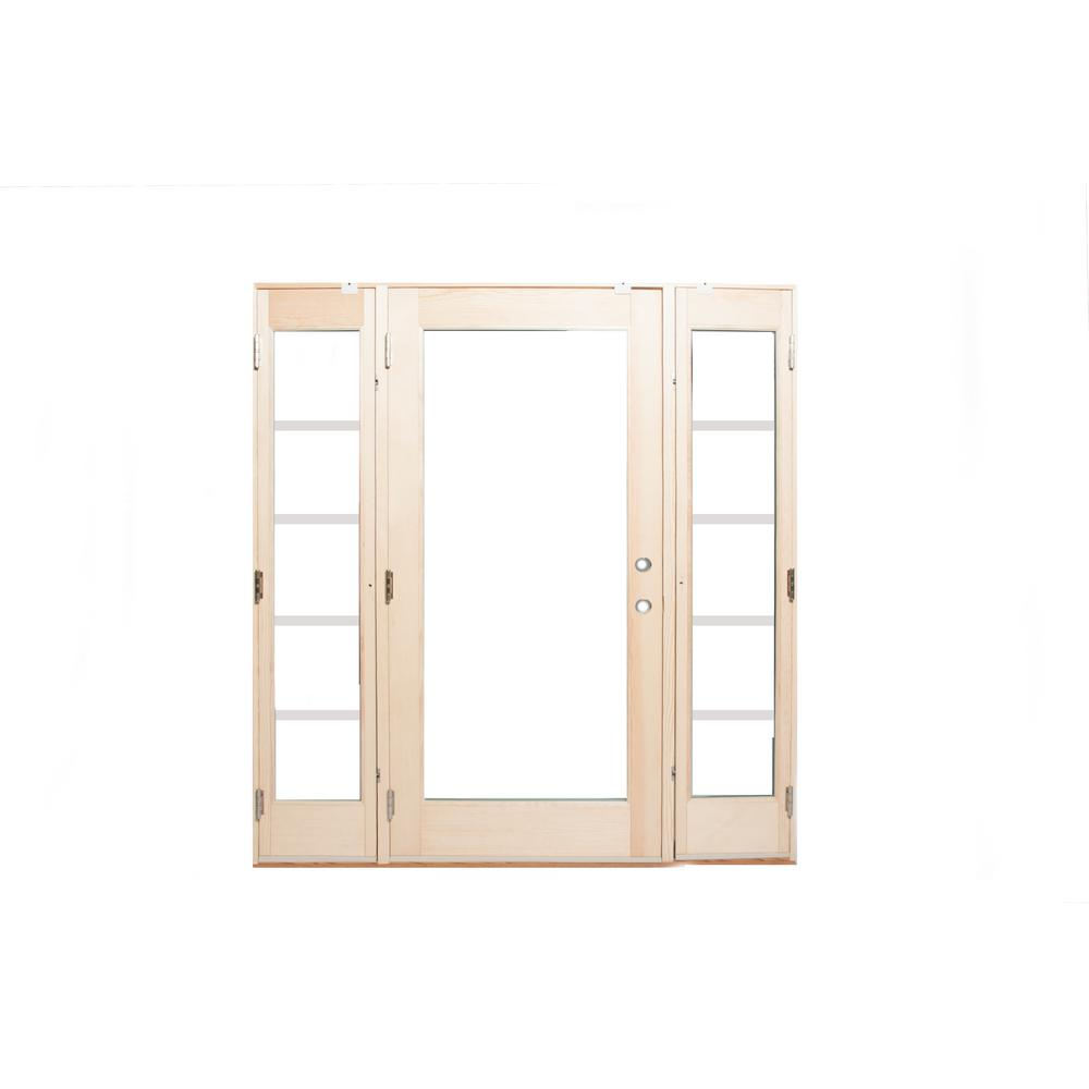 Ashworth 72 in. x 80 in. Pro Series White 10 Lite Painted Pine Prehung Front Door with Venting Sidelites