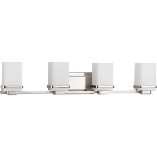 Metric Collection 4-Light Brushed Nickel Bathroom Vanity Light with Glass Shades