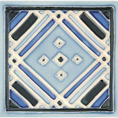 Hand-Painted Ceramic Aztec Blue 6 in. x 6 in. x 6.35 mm Glazed Ceramic Wall Tile (2.5 sq. ft. / case)