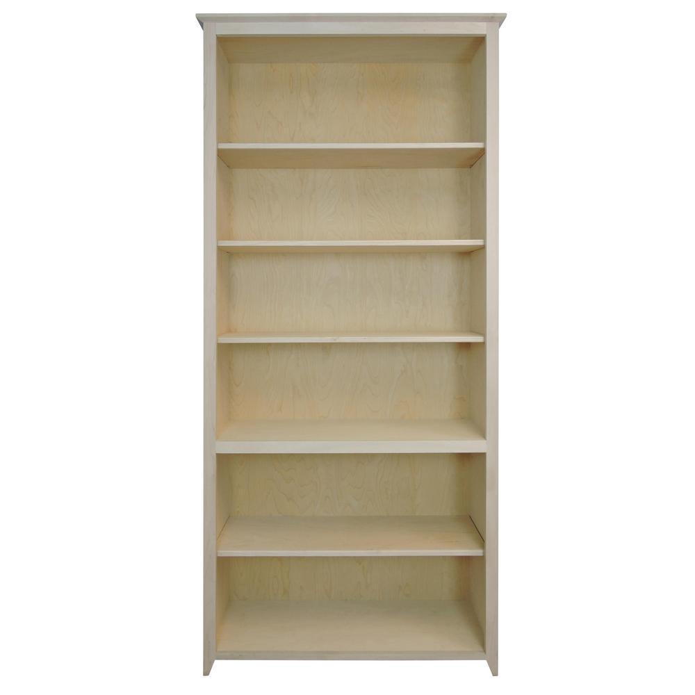 Shaker style unfinished 6 shelf bookcase