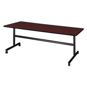 Kobe Mahogany 72 in. W x 30 in. D Flip Top Mobile Training Table