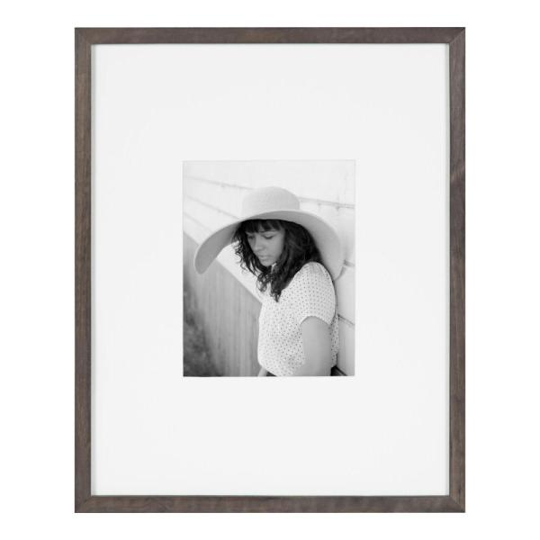 Gallery 16 in. x 20 in. matted to 8 in. x 10 in. Gray Picture Frame