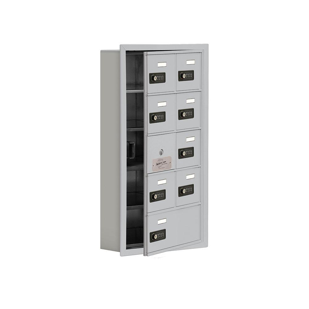 19100 Series 16.25 in. W x 29.75 in. H x 5.75 in. D 8 Doors Cell Phone Locker Recess Mount Resettable Lock in Aluminum