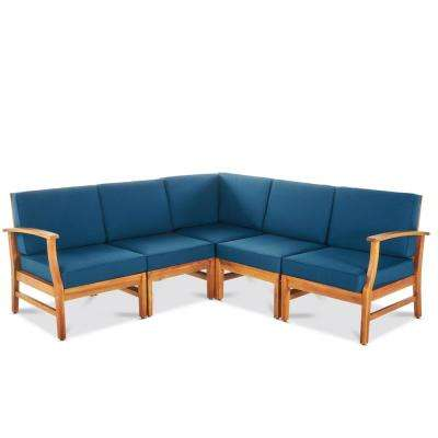 Bethany Teak 5-Piece Wood Sectional Set with Blue Cushions
