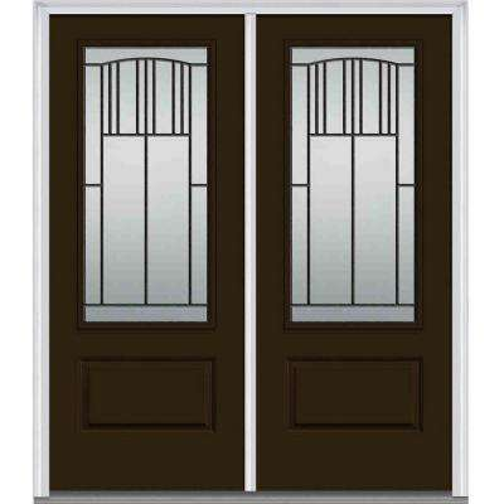 72 in. x 80 in. Madison Left-Hand Inswing 3/4-Lite Decorative 1-Panel Painted Fiberglass Smooth Prehung Front Door