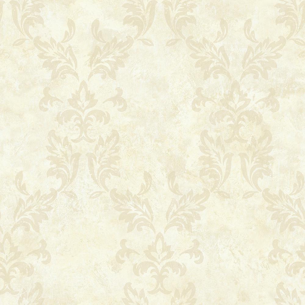 Brewster Bentley Beige Damask Wallpaper Sample ARB67576SAM