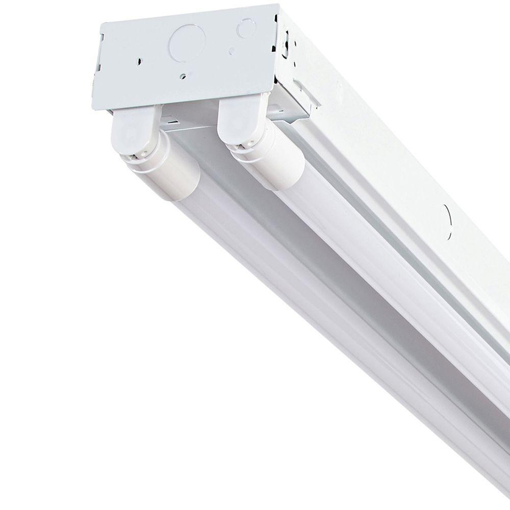 4 ft. 2-Light T8 Industrial LED White Strip Light with 1800 Lumen LED Tubes 5000K
