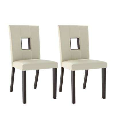 Bistro White Leatherette Dining Chairs (Set of 2)