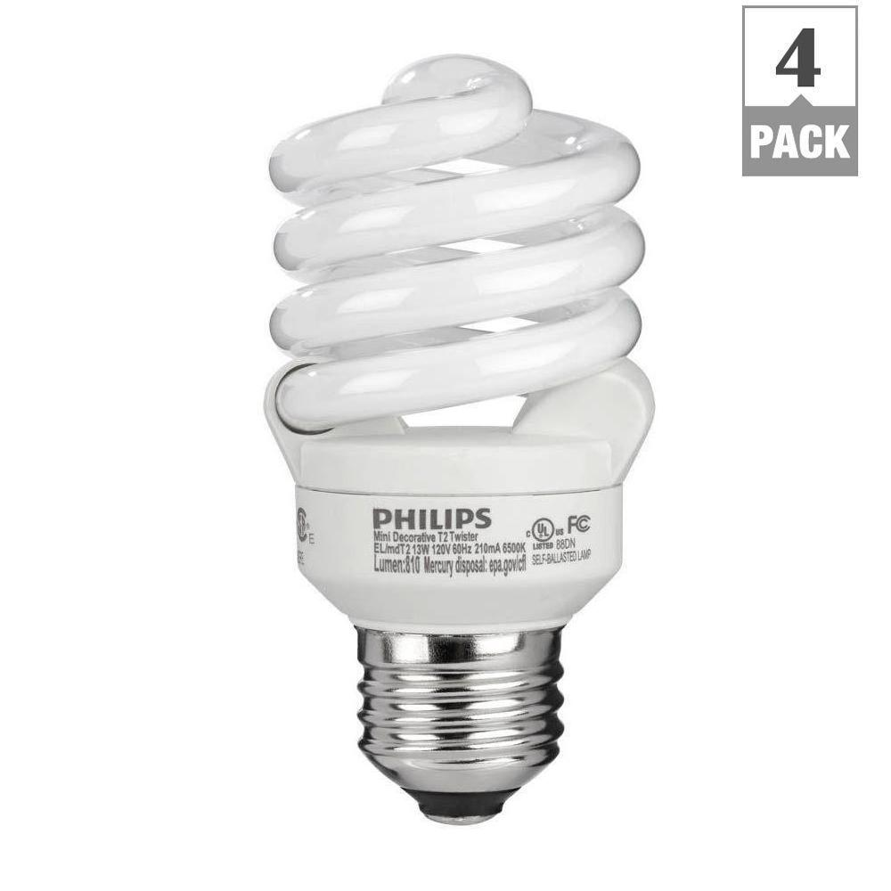 Philips 60w equivalent daylight 6500k t2 spiral cfl light bulb 4 pack 434399 the home depot Fluorescent light bulb