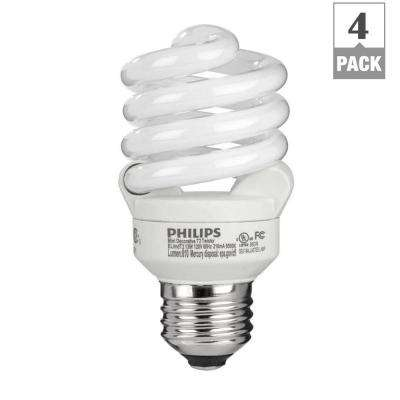 60W Equivalent Daylight (6500K) T2 Spiral CFL Light Bulb (4-Pack)