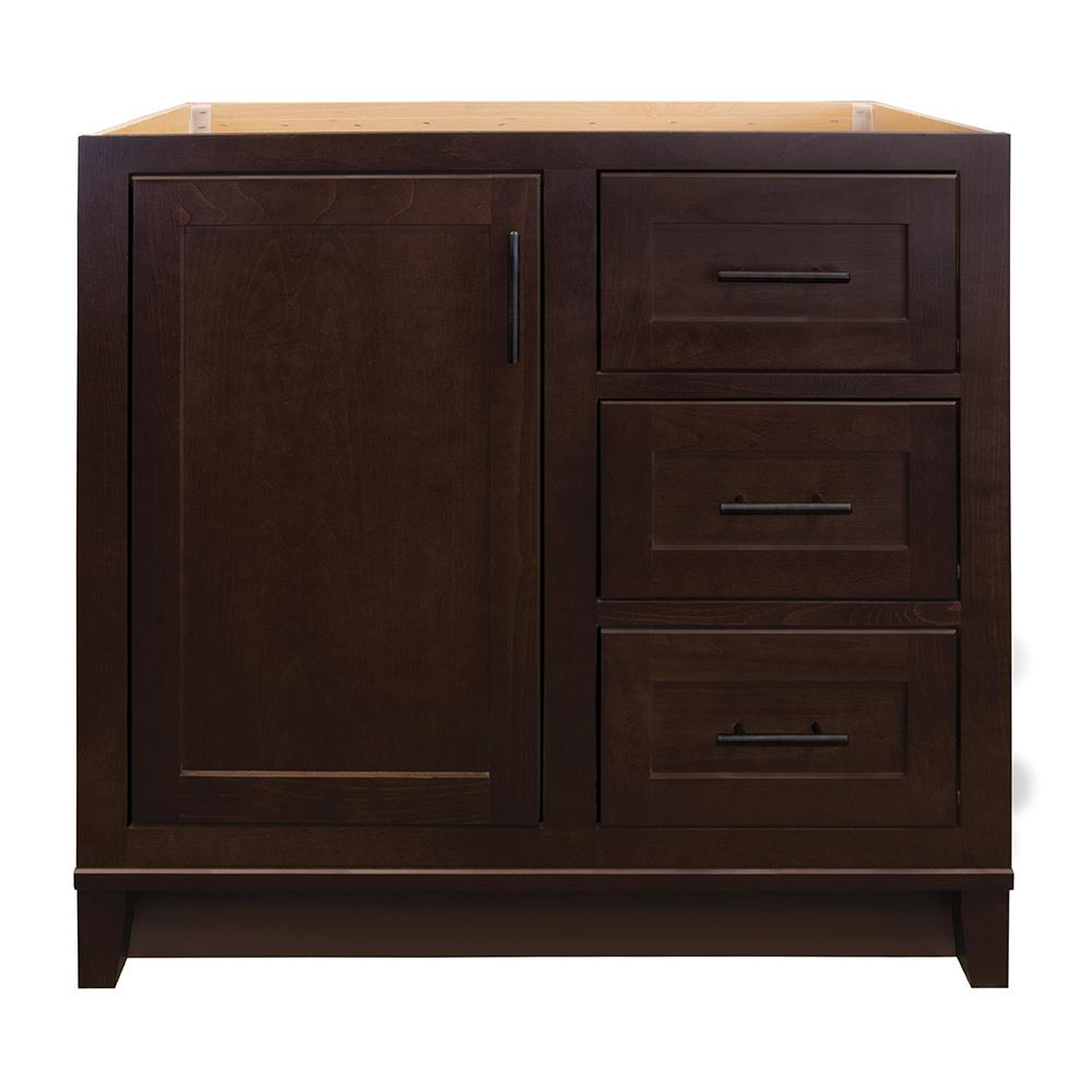 Glacier Bay Kinghurst 36 in. W x 21 in. D x 33.5 in. H Bathroom Vanity Cabinet Only in Dark Cognac
