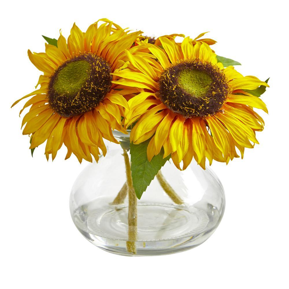Indoor Sunflower Artificial Arrangement in Glass Vase