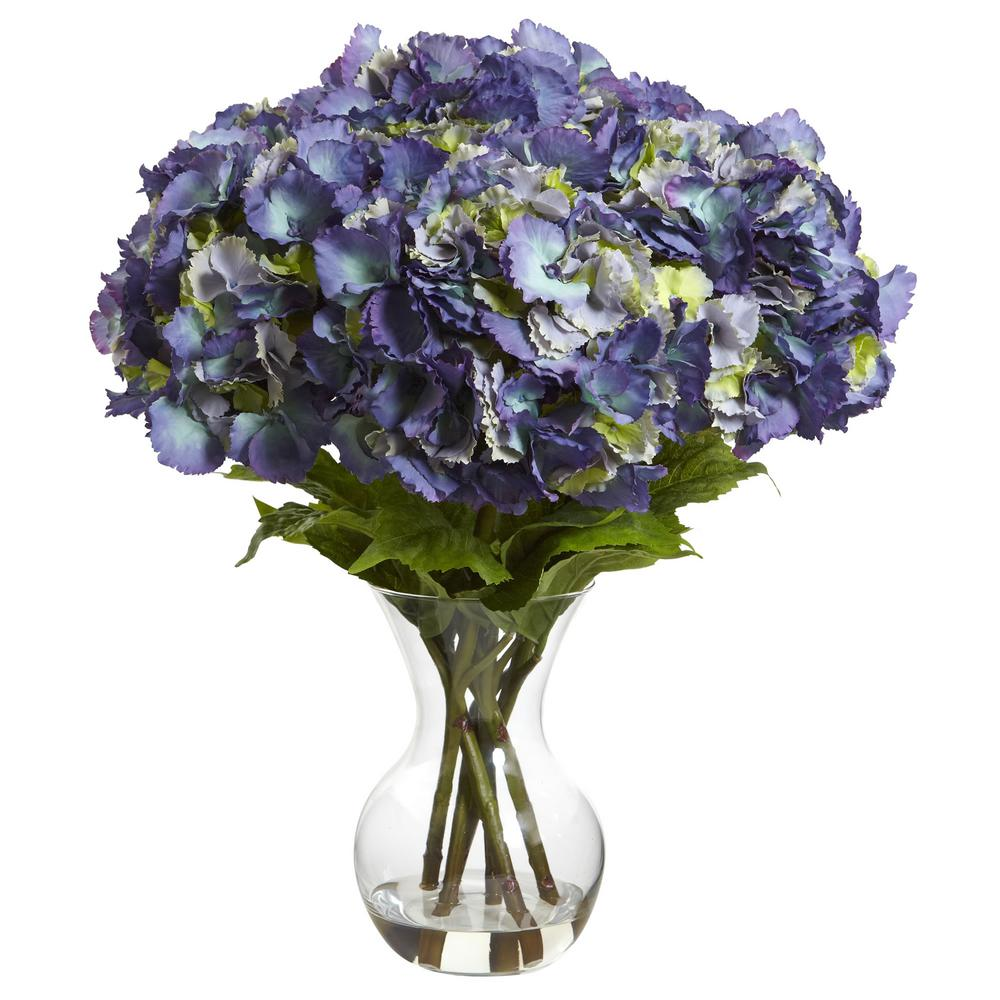 nearly natural blooming hydrangea with vase arrangement. Black Bedroom Furniture Sets. Home Design Ideas