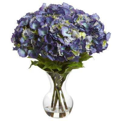 23 in. Large Hydrangea with Vase Silk Flower Arrangement