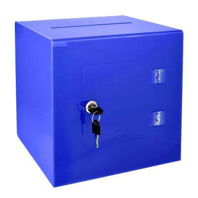 10 in. x 10 in. x 10 in. Acrylic Suggestion Donation Box with Easy Open Rear Door, Blue