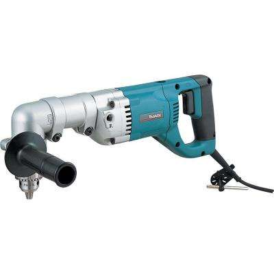 7.5 Amp 1/2 in. Corded 2-Speeds Reversible Angle Drill with Chuck Key Side Handle and Tool Case