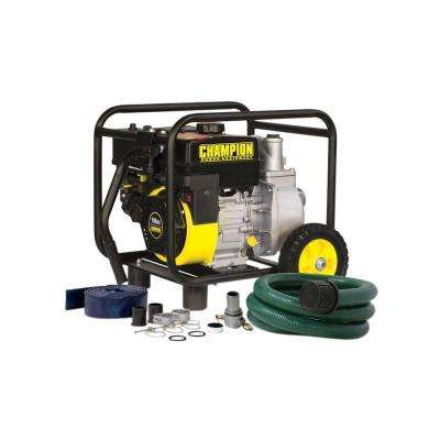 2 in. 16-1/2 HP Gas Powered Semi-Trash Water Transfer Pump with Hose and Wheel Kit