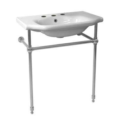 Yeni Klasik Ceramic Console Bathroom Sink in White with 3 Faucet Holes and Chrome Stand