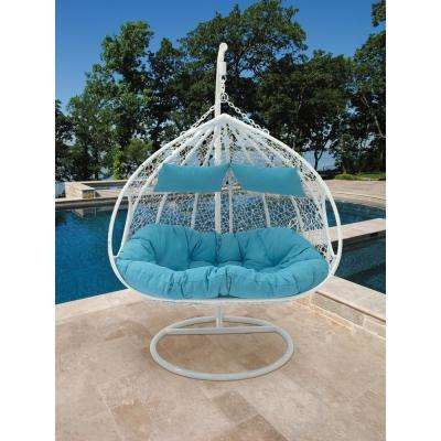White and Aqua Outdoor Double Pod Lounge Chair with Decorative Weave and Rattan Texture