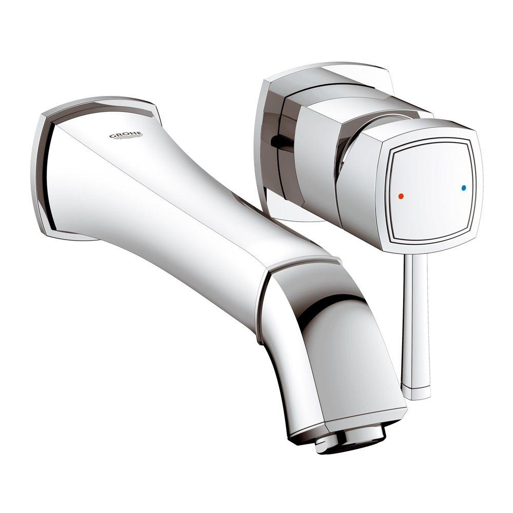 GROHE Grandera Single-Handle Wall-Mount Roman Tub Faucet in Brushed ...