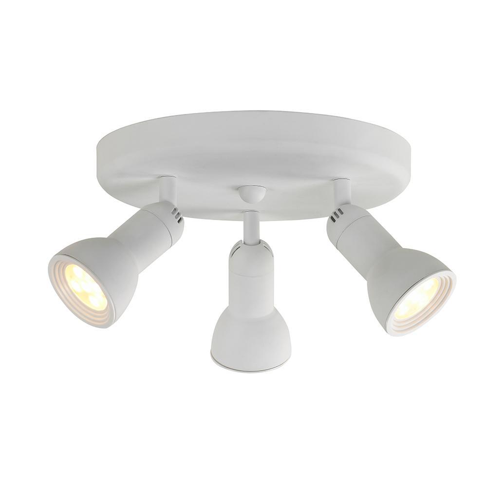 Led Track Light Head White: Hampton Bay 10 In. 3-Light White Integrated LED Track