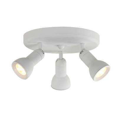 10 in. 3-Light White Integrated LED Track Lighting Fixture Head