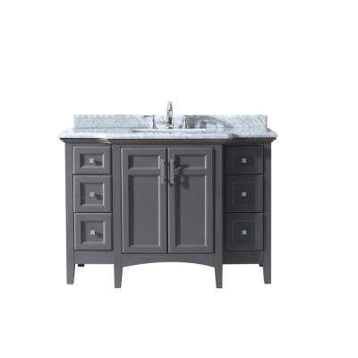 Ari Kitchen And Bath Luz 48 In Single Bath Vanity In Gray With Marble Vanity Top In Carrara White With White Basin Akb Luz 48 Mpgr The Home Depot