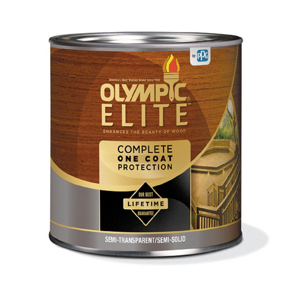 Olympic Elite 7.5 oz. Brown Semi-Transparent Advanced Exterior Stain and Sealant in One
