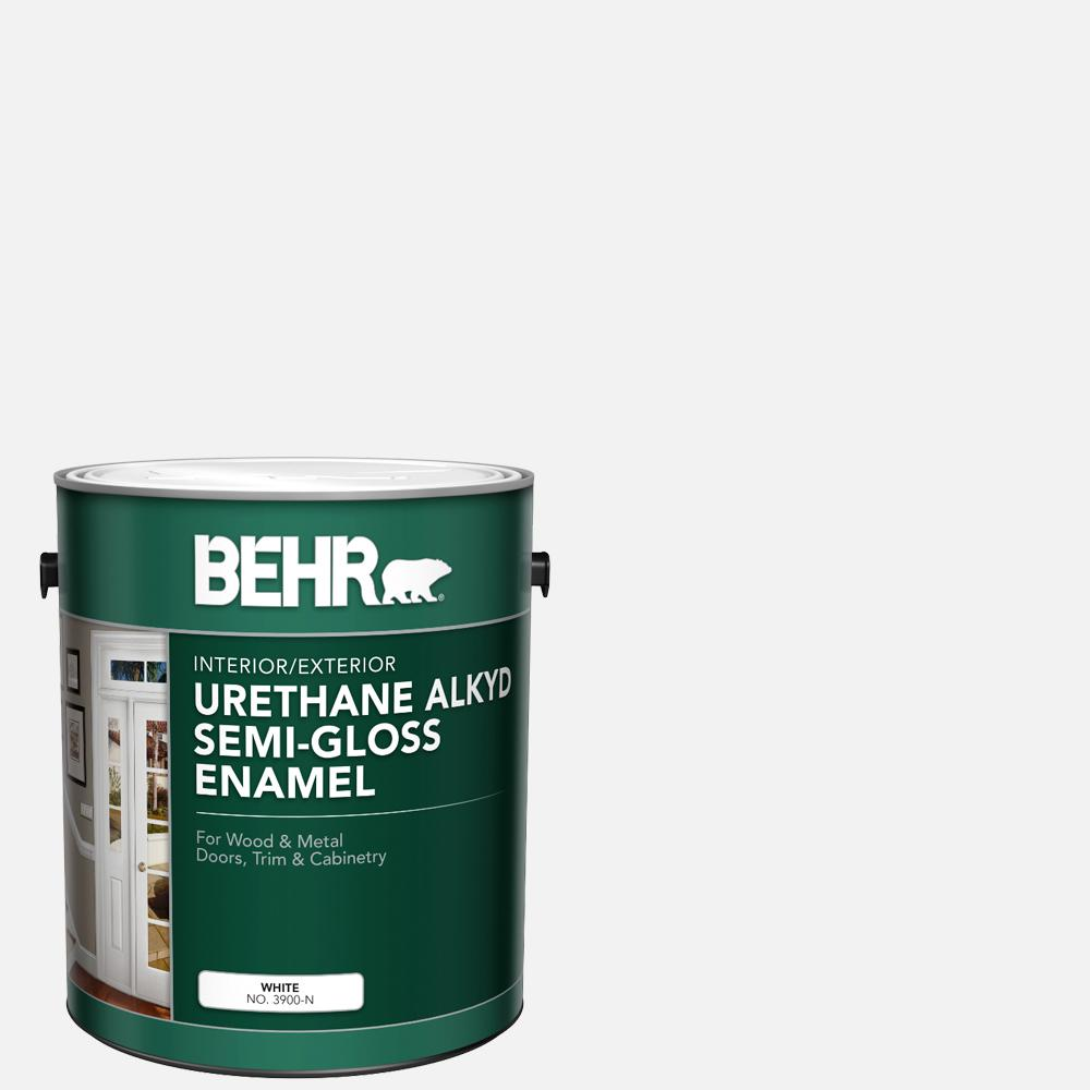 BEHR 1 gal. White Urethane Alkyd Semi-Gloss Enamel Interior/Exterior Paint