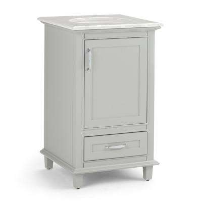 Ariana 20 in. W x 19 in. D Bath Vanity in Warm Grey with Quartz Marble Vanity Top in Bombay White with White Basin
