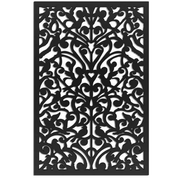 Ginger Dove 32 in. x 4 ft. Black Vinyl Decorative Screen Panel