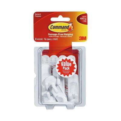 Small White Utility Hook Value Pack (8 Hooks, 16 Strips)