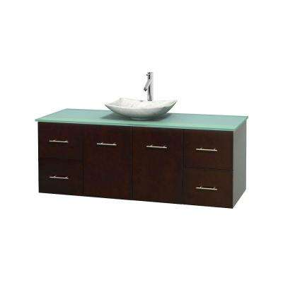 Centra 60 in. Vanity in Espresso with Glass Vanity Top in Green and Carrara Sink