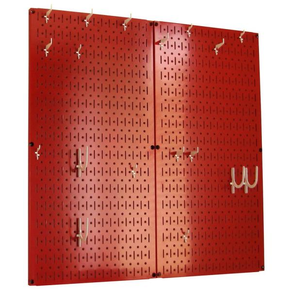 Kitchen Pegboard 32 in. x 32 in. Metal Peg Board Pantry Organizer Kitchen Pot Rack with Red Pegboard and White Peg Hooks