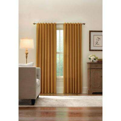 Semi-Opaque Gold Monaco Thermal Foam Backed Lined Back Tab Curtain - 52 in. W x 84 in. L
