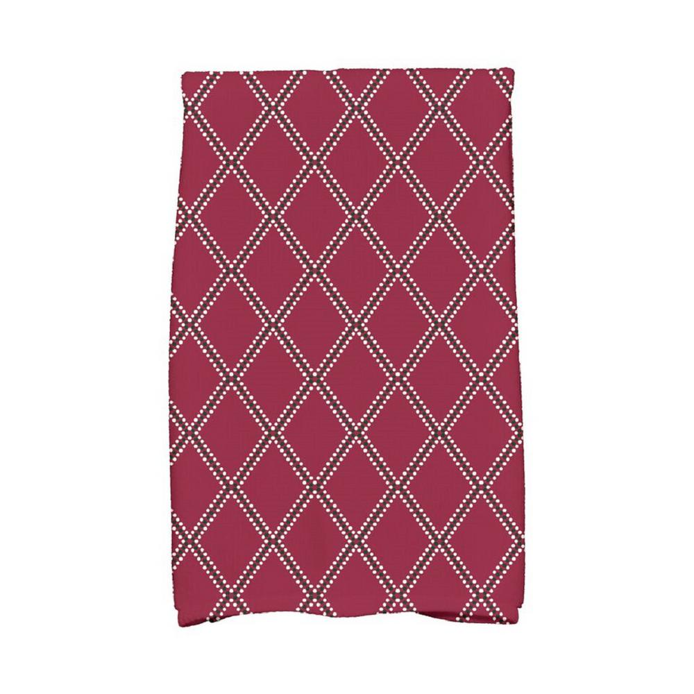 16 in. x 25 in. Cranberry Diamond Dots Holiday Geometric Print