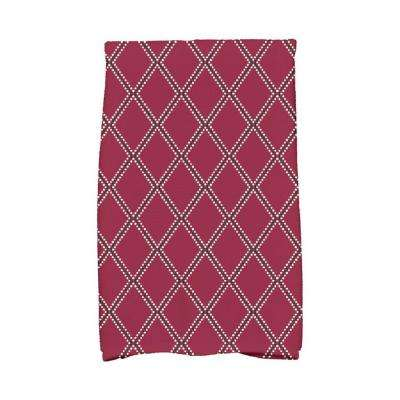 16 in. x 25 in. Cranberry Diamond Dots Holiday Geometric Print Kitchen Towel