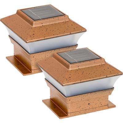 Solar Powered Integrated LED Copper Outdoor Deck Post Light (2-Pack)