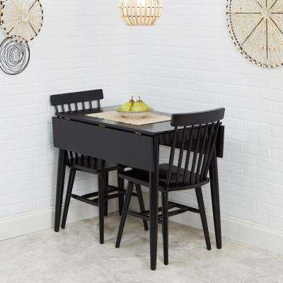 Connor 3-Piece Black Drop Leaf Dining Table Set