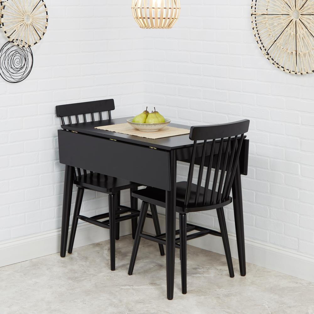 Connor 3 Piece Black Drop Leaf Dining Table Set
