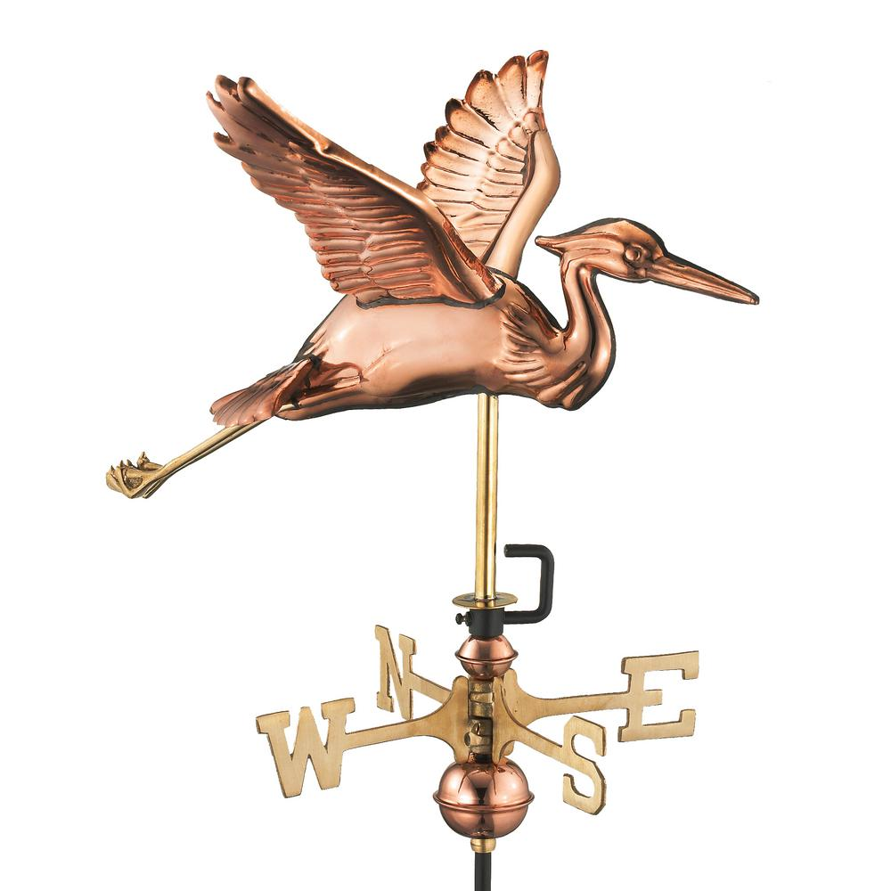 Good Directions Blue Heron Garden Weathervane   Pure Copper With Garden Pole
