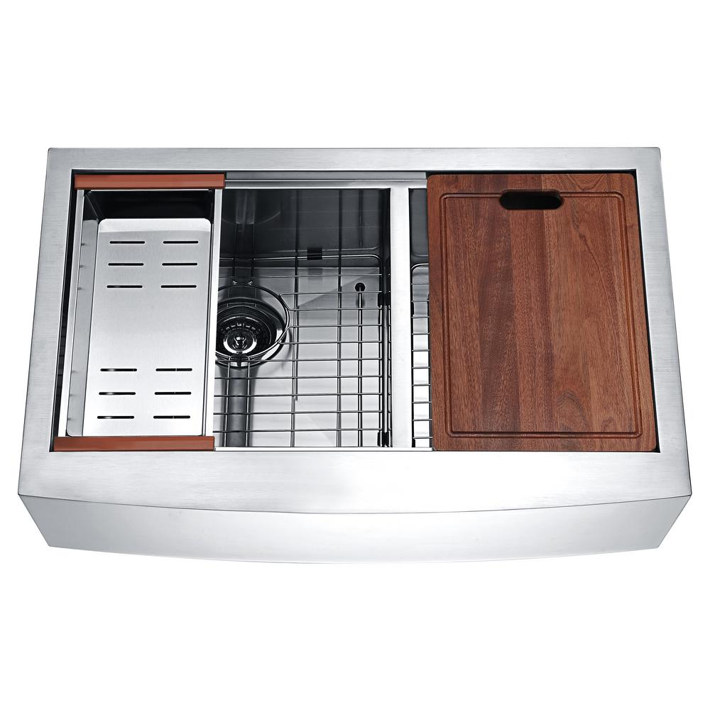 Anzzi Aegis Farmhouse Stainless Steel 33 In 60 40 Double Bowl Kitchen Sink With