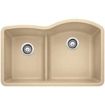 DIAMOND Undermount Granite Composite 32 in. 40/60 Double Bowl Kitchen Sink with Low Divide in Biscotti