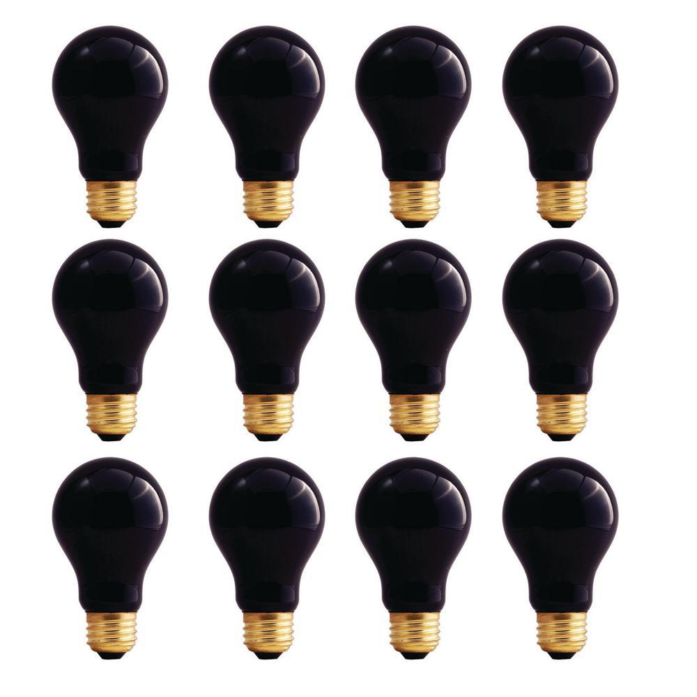 75-Watt A19 Black Light Dimmable Incandescent Light Bulb (12-Pack)